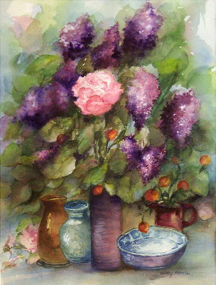 Lilacs and Pink Rose